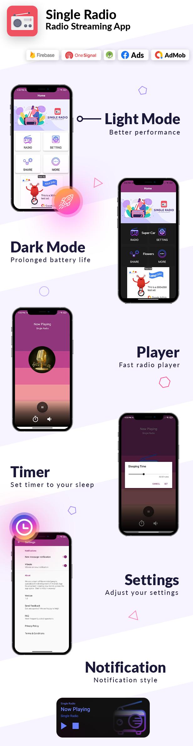 Single Radio App Android   Admob, Facebook, Onesignal - 3